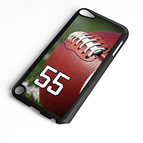 (iPod Touch Case Fits 6th Generation or 5th Generation Football #6100 Choose Any Player Jersey Number 55 in Black Plastic Customizable by TYD Designs)