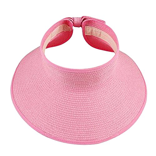 Xshop X Shop Women Foldable Roll Up Wide Brim Sun Visor Beach Straw - Visor Transparent Pink