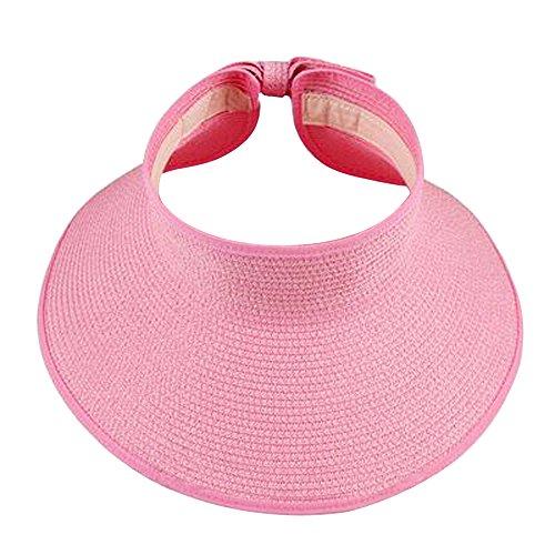 Xshop X Shop Women Foldable Roll Up Wide Brim Sun Visor Beach Straw - Visor Pink Transparent