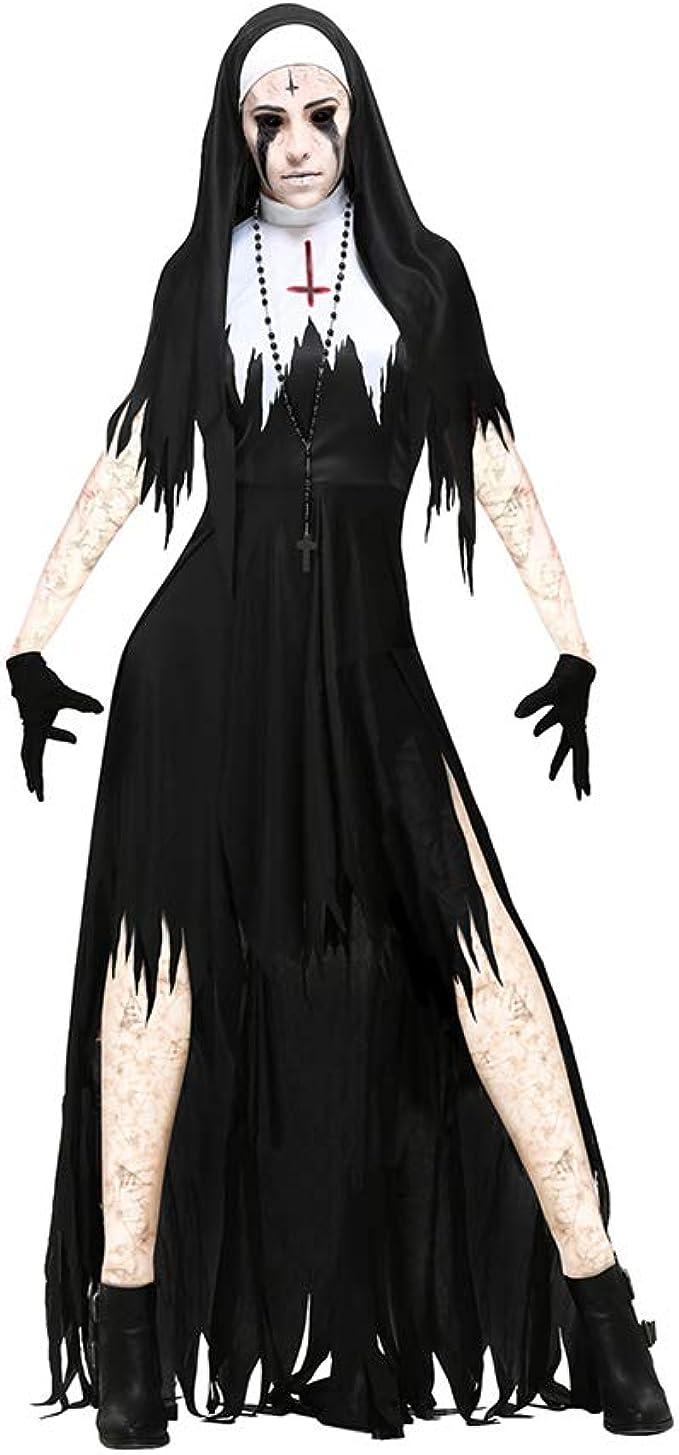 Lbellay Disfraz de Monja Adulta Disfraces de Halloween Mascarada ...
