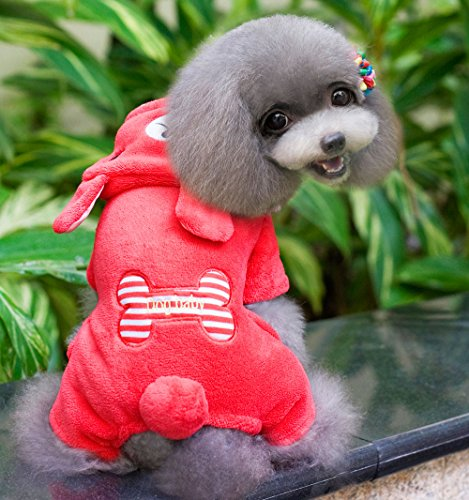 (SMALLLEE_LUCKY_STORE Soft Bone Bear Costumes Sweater, Red, Small)