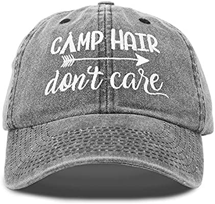 DALIX Camp Hair Don/'t Care Dad Hat Washed Cotton Cap Pigment Dyed