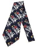 Flapper Couple Vintage Tie - Jacquard Weave Wide Kipper Necktie Navy Blue (One size, Blue)