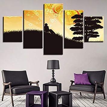 WJDJT 5 Paneles Cuadros En Lienzo Imágenes Decorativas Escena De Amor Wall Art Decoración del Hogar Impresiones HD Póster 200X100Cm Mural De La Decoración De La Pared