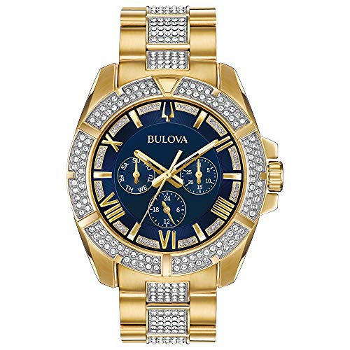 Bulova Men's Swarovski Crystal Quartz Watch with Two-Tone-Stainless-Steel Strap, 22 (Model: ()