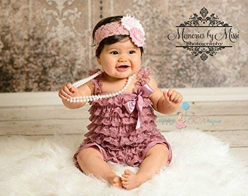 8a1365e05636 Image Unavailable. Image not available for. Color  2pcs Dusty Ivory Pink  Rose Petti Lace Romper Set