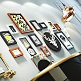 Photo Wall Clocks Combination Zodiac Dog Year Frame Wall Elk Decoration Picture Frame Wall 5 Inch 7 Inch 14 Inch ( Color : Black and white Hu )