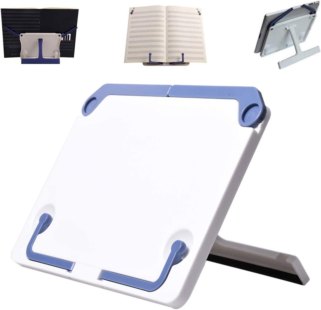 Lemical Desktop Sturdy Bookstand for Textbooks, Laptops, Reading Portable Folding Multipurpose Book Music Sheet Stand Holder with Adjustable Detachable Tray-Page Paper Clips