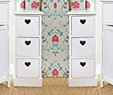 Sue Ryder Pair Bedside Units White 3 Drawer Heart Cutout Chest Cabinets Side Table x2