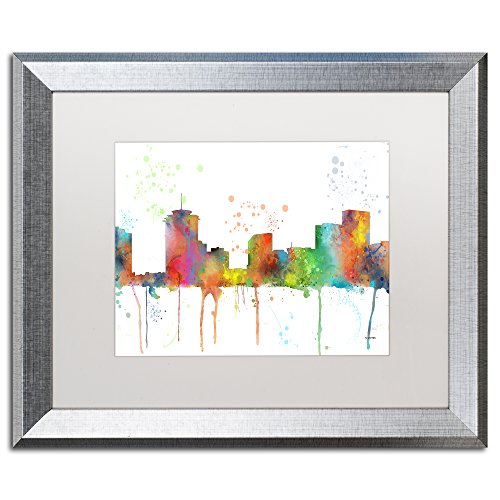 - New Orleans Louisiana Skyline by Marlene Watson, White Matte, Silver Frame 16x20-Inch
