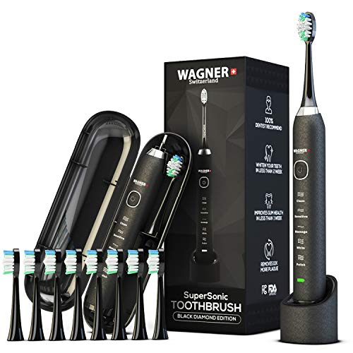 WAGNER Switzerland. Black ULTRA Whitening Toothbrush | 8 DuPont Bristles | SuperSonic 5 Modes w Smart Timer | 48,000 VPM | Wireless | Premium Travel Case | 100% Dentist Recommended & Designed.