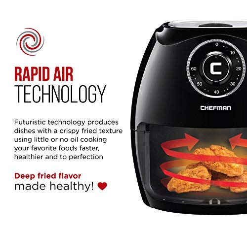 Chefman 6.5 Liter/6.8 Air Fryer with Saving Oil Hot Airfryer Safe Parts Timer