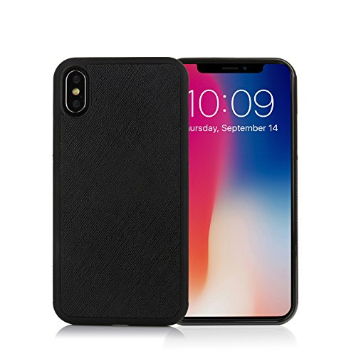 iPhone X Case Durable Cross Pattern Genuine Leather Non Slip Anti Scratch Slim Fit Protective Cover(Black)