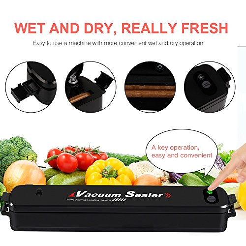 Vacuum Sealer Automatic Vacuum Sealing System, Vacuum Sealing Machine for Food Preservation and Storage including Starter Kit and 15 Sealer Bags for Free,Compact Vacuum Sealer - Automatic Vacuum Sealed Food Storage