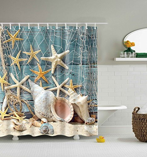 abxinyoule seashell conch starfish shower curtain fishing nets beach ocean decor waterproof mildew fabric bathroom