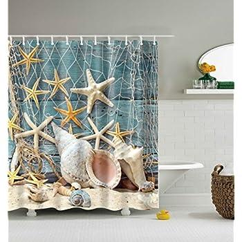 ABxinyoule Seashell Conch Starfish Shower Curtain Fishing Nets Beach Ocean  Decor Waterproof Mildew Fabric Bathroom