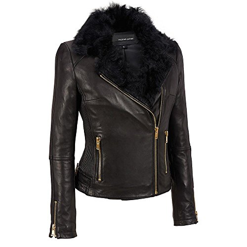 Wilsons Leather Womens Asymmetric Cinch Side Leather Cycle Jacket W/Fur XL (Fur Collar Leather Zippered Jacket)