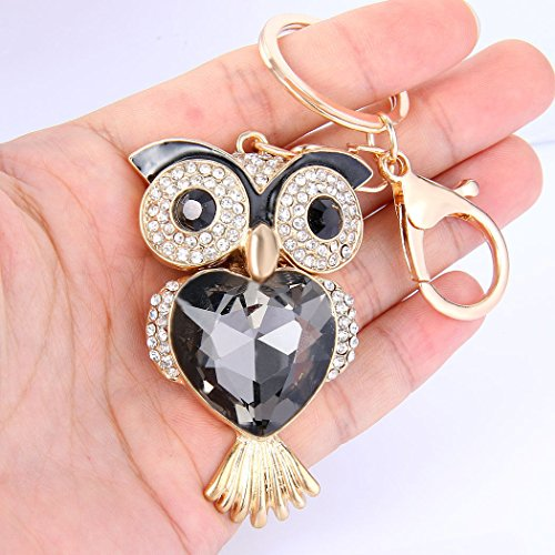 Axmerdal Fashion Lovely Lucky Owl Keychain Diamond Crystal Rhinestone Gold Crystal Charm Pendent Handbag Purse Bag Key Ring Keyfob Charm for Girl and Women Gift-Black