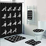 PRUNUSHOME 5-piece Bathroom Set-Includes Shower Curtain Liner,smoke animation exhaust animation sprite sheet for game or cartoon Decorate the bathroom(Large)