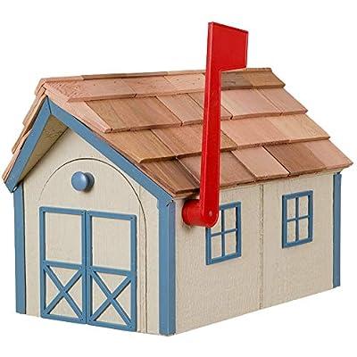 Amish Cedar Roof Wooden Mailbox with Window & Door Trim (Beige with Blue Trim)