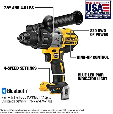 DEWALT 20V MAX XR Hammer Drill Kit, Tool Connect Bluetooth, Tool Only DCD997B