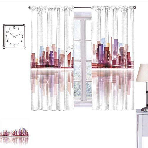 WinfreyDecor City Curtains for Living Room Landscape Modern Skyscrapers Metropolitan Silhouette Illustration Abstract Composition Curtain Holdback Multicolor W72 x L45
