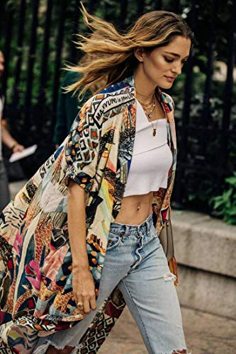 Kimono Women' s Kimono Cardigan Beach Cover up Geometry Print Short Sleeve Loose Open Front Cotton Cardigans Duster (282)