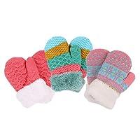 Halconia 3 Pair Girls Knit Winter Mittens,2-5 Years