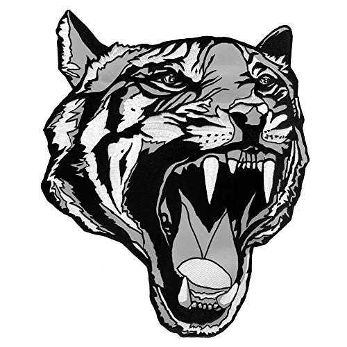 VEGASBEE Large Tiger Head Tattoo Style Design Black-White Gray Embroidered Iron-ON Decorative Patch Emblem 12