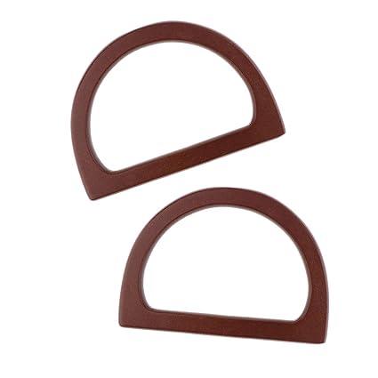 Prettyia 1 Pair Diy Wooden Purse Bag Handle Handbag Accessories Wood Frame Evening Clutch Handle Part Brown