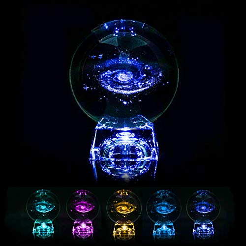 Powstro 3D Light Engraved Crystal Ball, Galaxy Display Globe Sphere Glass with Clear Stand, Gift for Valentine's Day Anniversary Wedding Birthday (Starry Sky)