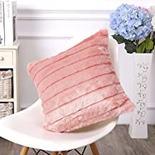 """Funif Acrylic Decorative Faux Fur Throw Pillow Cover Cushion Case Square Pillow Sham for Couch with Filler Pink 18"""" X 18"""""""