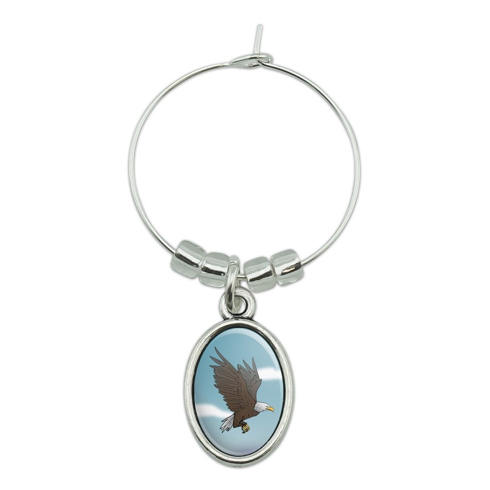 Bald Eagle Flying Wine Glass Oval Charm Drink Marker Graphics and More