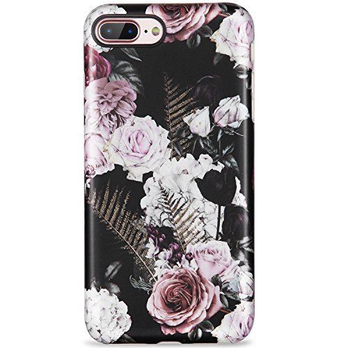 iPhone 7 Plus Case,iPhone 8 Plus Case,Florals Pink White Black for women girls Cute Slim Fit Glossy TPU Clear Bumper Soft Rubber Silicone Thin Protective Phone Case Cover for iPhone 7 Plus 8 Plus