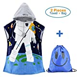100% Cotton Kids Hooded Beach Bath Towels for Boys Large Poncho with a Draw String Backpack (Astronaut 23.6 x 39.4'')