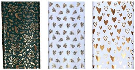 TOYANDONA 3個ホットスタンプギフトラップ愛の心の葉模様のギフト包装紙パーティー