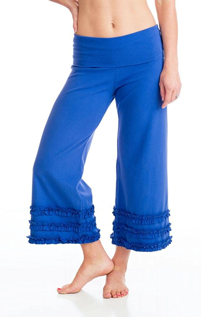 Women's Organic Cotton Blue 3-Ruffle Capri Yoga Pirate Festival Pants - DeluxeAdultCostumes.com