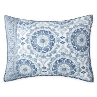 HOME EXPRESSIONS Emma Medallion Pillow Sham Standard - Blue - Home Expressions Standard Sham