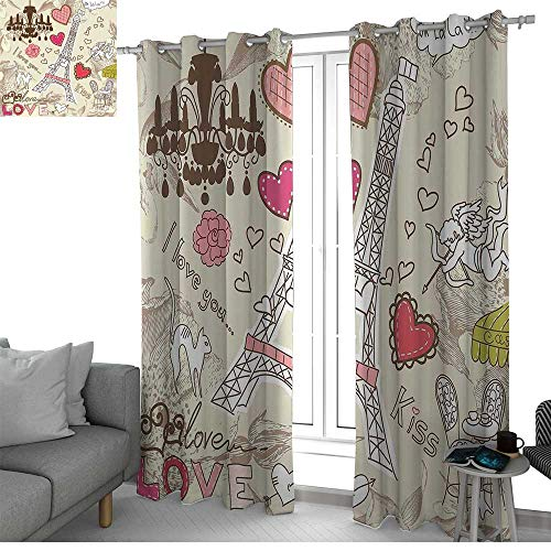 curtains Paris Decor,Doodles Illustration of Eiffel Tower Hearts Chandelier Flower Love Valentines Vintage,Beige Pink,Treatments Thermal Insulated Light Blocking Drapes Back for Bedroom ()