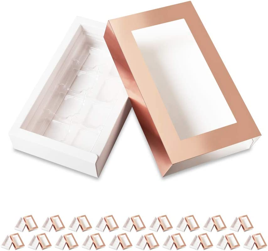 BAKIPACK 20 Rose Gold Truffle Box, Chocolate Box Packaging, Candy Boxes with 8-Piece Plastics Tray(Tray Size with 5.75x2.75 Inches), Pull Out Packing with Clear Window Sleeves