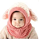 FEITONG(TM) Lovely Winter Baby Kids Girls Boys Warm Woolen Coif Hood Scarf Caps Hats (Pink)