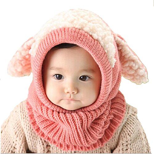 Price comparison product image FEITONG(TM) Lovely Winter Baby Kids Girls Boys Warm Woolen Coif Hood Scarf Caps Hats (Pink)