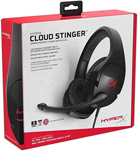 HyperX Cloud Stinger – Gaming Headset – Comfortable HyperX Signature Memory Foam, Swivel to Mute Noise-Cancellation Microphone, Compatible with PC, Xbox One, PS4, Nintendo Switch, and Mobile Devices 51CGOSzaUnL