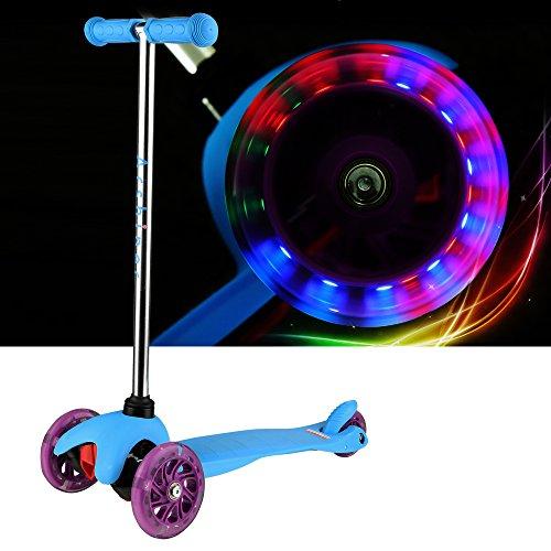 Arshiner Kinderroller Dreiradroller klappbar Sicherheit T-Lenker mit Bremse und Licht Umweltschutz Blau Kinderscooter Scooter Kickboard Tretroller