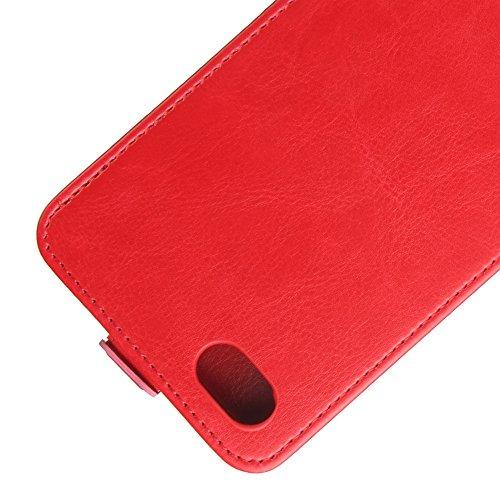 Para ZTE Blade Force N9517 Caso compacto de piel PU, arriba-abajo piel abierta PU Funda de piel con ranura para tarjeta y función de protección completa con cierre magnético Caja a prueba de golpes po rojo