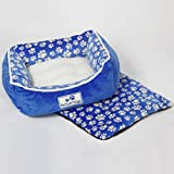 Pet Soft Things Dog Paw Flannel Pet Bed with Reversible Pillow, 19″ x 24″ x 8″, Blue