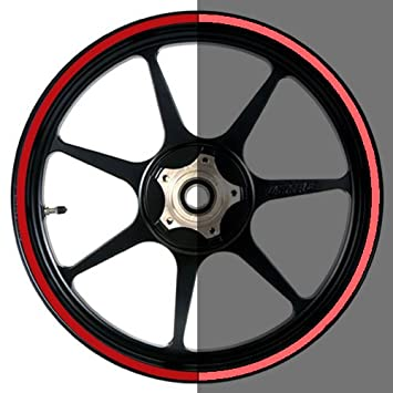 16 to 19 inch Reflective Motorcycle, Scooter, Car & Truck Wheel Rim Trim Tape Stripes Red Size 0 - 1/8inch or 3mm wide VehicleArtz RIM0116-19R