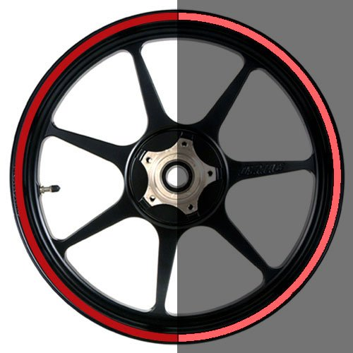 16 to 19 inch Reflective Motorcycle, Scooter, Car & Truck Wheel Rim Trim Tape Stripes Red Size 0 - 1/8inch or 3mm wide by Vehicleartz