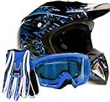 Adult Offroad Helmet Goggles Gloves Gear Combo Blue Splatter (2X)