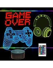 FULLOSUN Pixel Game Over Illusion Lamp, Gamepad 3D Nachtlampje (3 Patronen) met Afstandsbediening 16 Kleur Veranderende Gaming Kamer Headset Decor Beste Gamer Gift